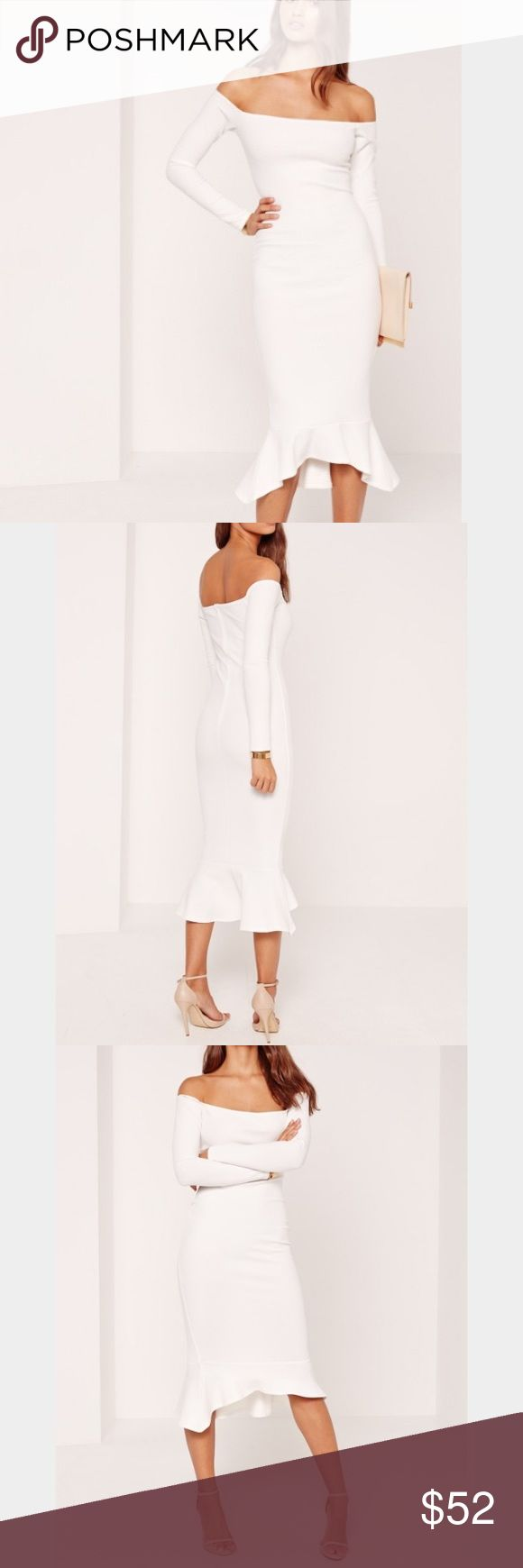 BRAND NEW with tags size 10 White Midi Dress Brand new with tags size 10 White Fishtail Hem Dress. Runs small for a 10. Missguided Dresses Midi