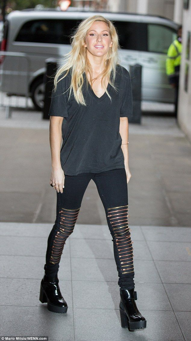 Ellie Goulding Sports Crazy Zipped Jeans For Bbc Radio 1 S Live Lounge Pinterest Concert And