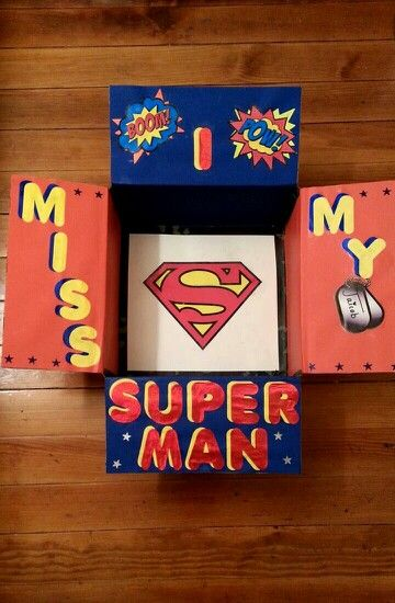 """My original design. A Superhero themed care package."""