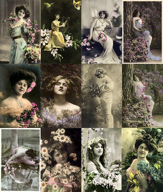 Arquivo com 100 lindas imagens vitorianas e do começo do século passado com tema: Damas com Flores
