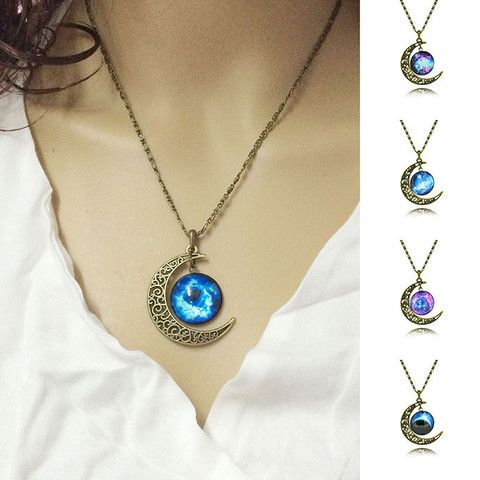 Harajuku necklace crescent moon galactic cosmic glass cabochon silver chain