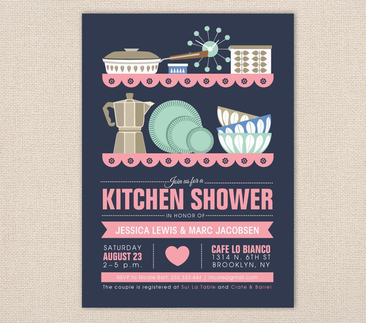Retro Kitchen Shower Invitations As Seen In Diy Weddings Magazine Mid Century Modern Bridal