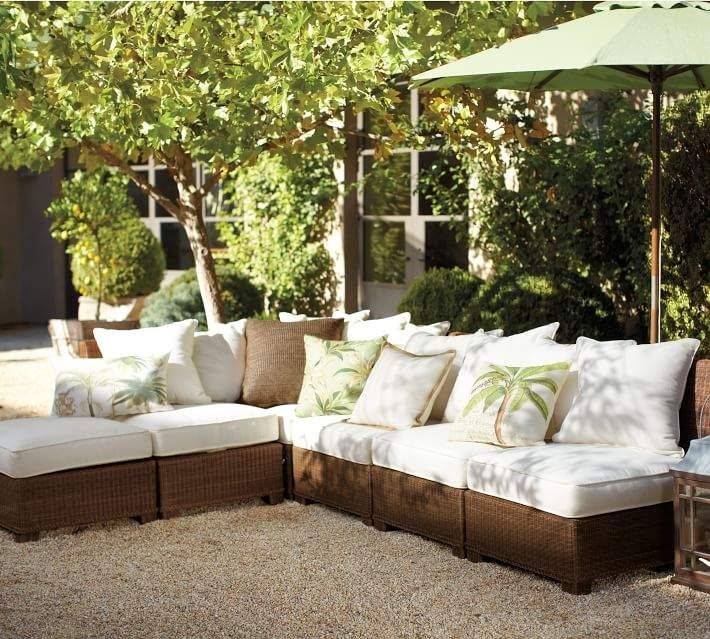 Palmetto All Weather Wicker Sectional Ottoman Honey Rattan