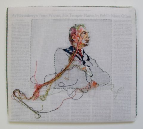 Lauren DiCioccio  Hand-embroidery on cotton muslin upholstered around the May 20, 2008 edition of The New York Times