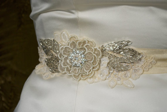 """Bridal Sash Champagne Gold Organza with Silver and Pearl Beaded Flower with Lace - """"Dulce"""". $89.95, via Etsy."""