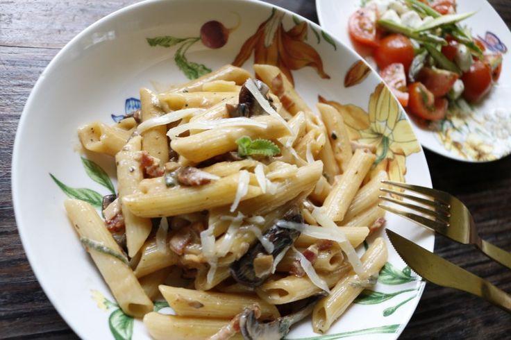 Pasta con Crema de Hongos y Bacon – Alex Clicks