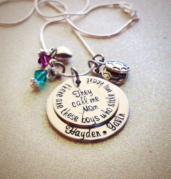 Custom Hand Stamped Mom of Boys Necklace, there are these boys who stole my heart....they call me mom, by GabbieGoodies on Etsy, $30.00