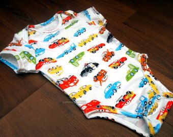 0-3M - Colorful Cars and Trucks-  Onesie/Bodysuit