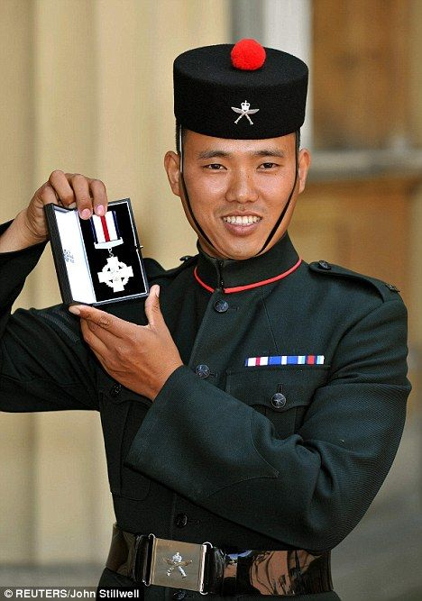 Cpl Pun, 1st Battalion the Royal Gurkha Rifles, receives Conspicuous Gallantry Cross. He fired 250 GPMG rnds, 180 SA80 rnds, 6 phosphorous grenades, 6 grenades, 5 UGL rounds & 1 Claymore. He didn't have his traditional Kukri knife carried by Gurkhas, so he beat one enemy fighter away with the tripod for his GPMG.