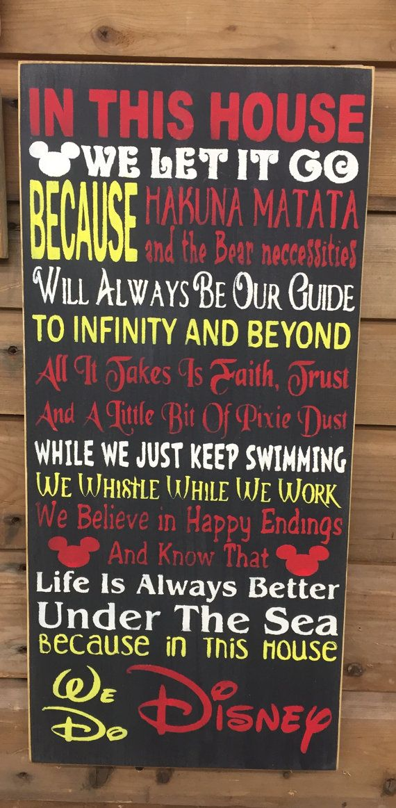 In this house we let it go... - Disney House Rules Rustic Sign -Home Decor- -Nursery Room- -Baby Shower-  Measures 12x1x24 in. - Pine Wood All