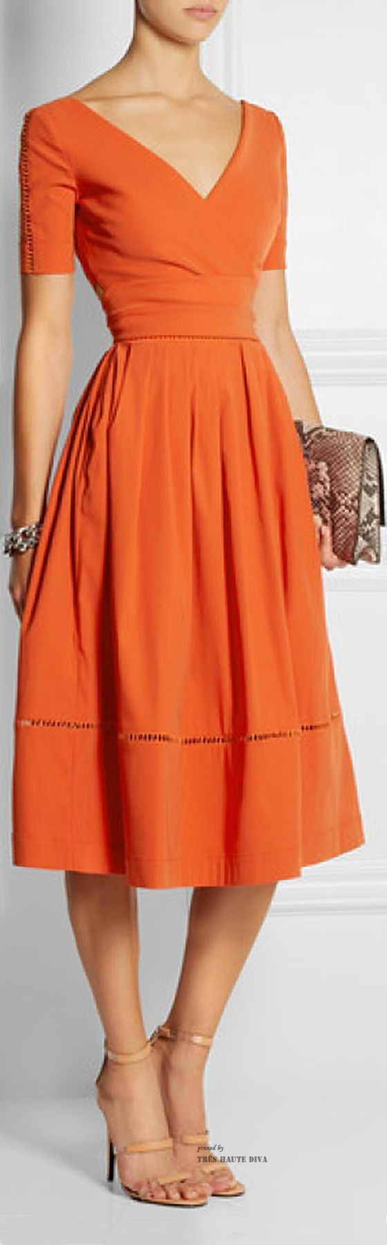 Orange vintage style 50s spring midi dress- love the color, sleeves and neckline