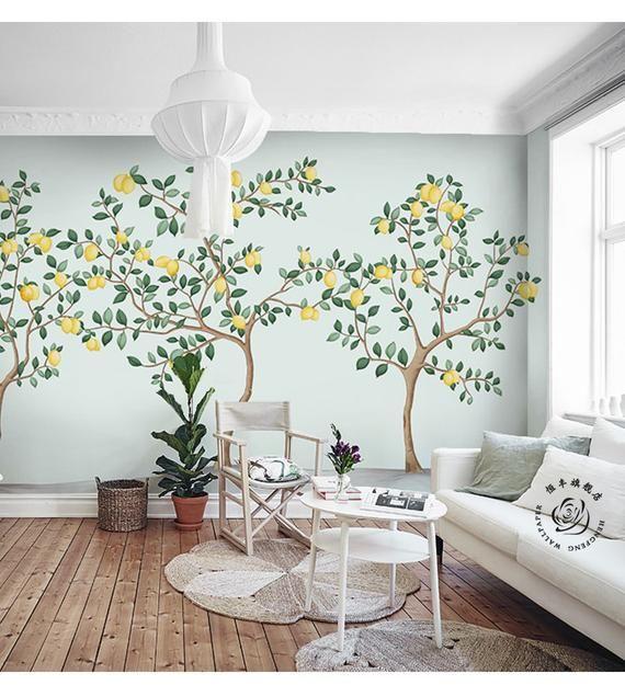 Abstract Watercolor Hand Painted Lemon Trees Wallpaper Wall Etsy Tree Wall Murals Wall Wallpaper Wall Murals