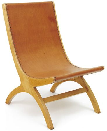 Josef Albers  Mexican Chair B, ca.1940 wood, leather 27 × 173⁄4 × 25 in. (68.6 × 45.1 × 63.5 cm) 1976.5.1