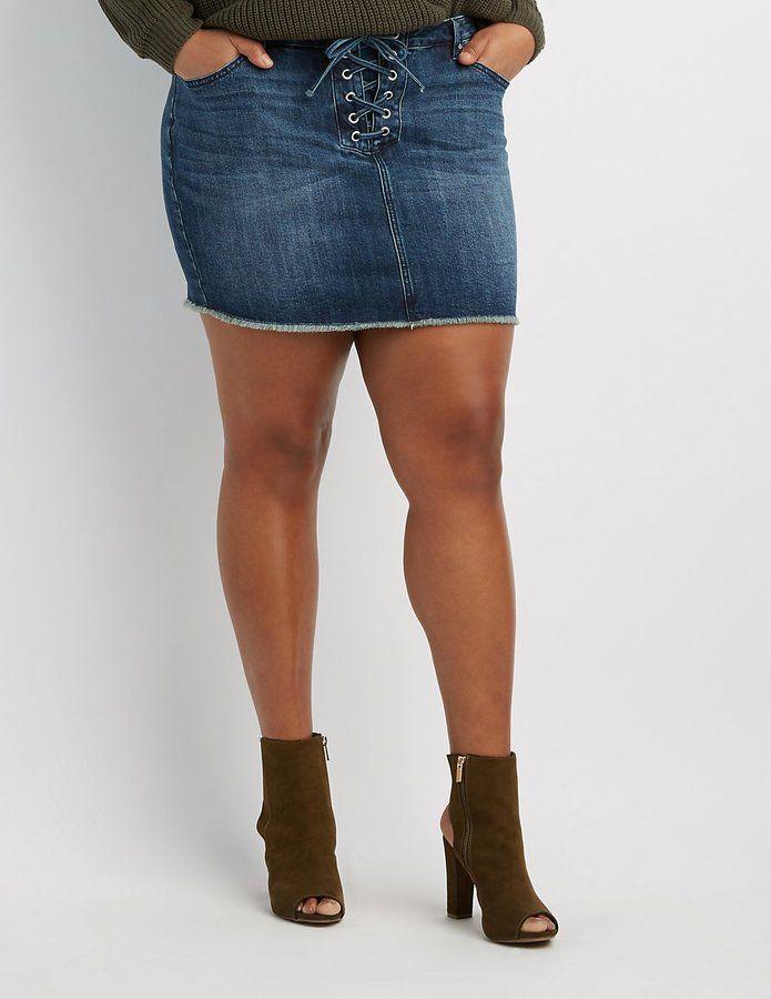 Charlotte Russe Plus Size Refuge Lace-Up Denim Mini Skirt