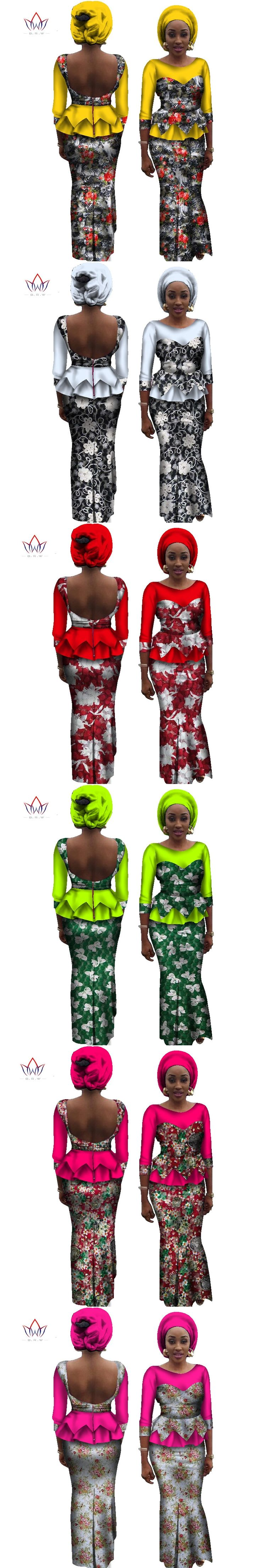 BRW 2017 New Autumn African Sets for Women Bazin Lace Backless Women Sets Dashiki Lace Sexy Traditional African Clothing WY1030