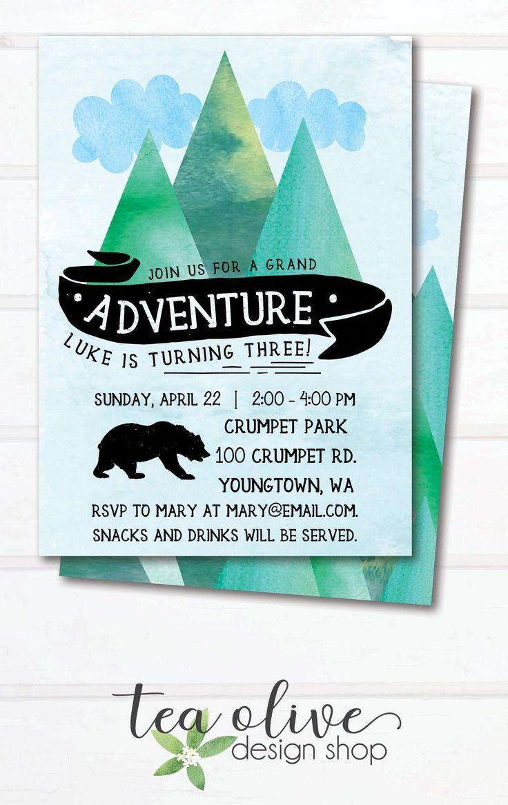 Adventure Birthday Party Invitation / Printable Mountain