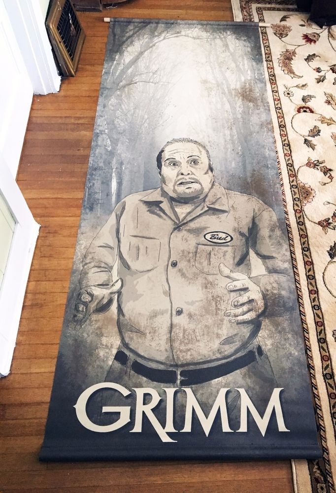 """Grimm TV Authentic HUGE """"Bud"""" Eisbiber GRIMM Banner! This Bud (Eisbiber) banner is from that Grimm prop warehouse sale. This awesome banner, with the round poles in it, measures 94.5"""" long x 40"""" wide, but is closer to 8' long and is 3' wide when the poles are out and the ends are flat. 