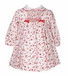 Sarah Louise Baby Red Smocked Floral Christmas Dress with Collar