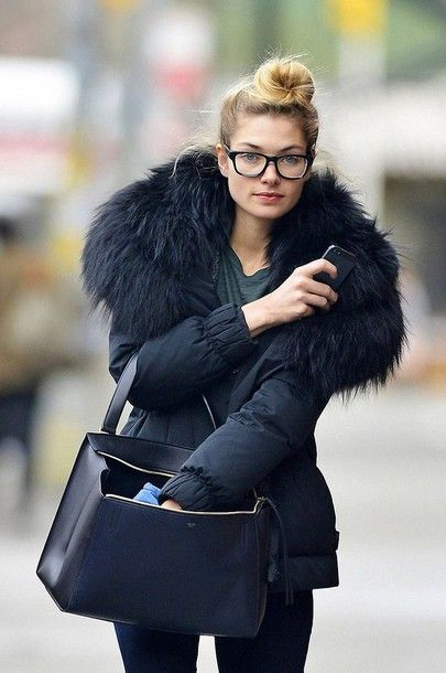 Jacket: puffer black fur collar coat bag black bag minimalist bag handbag glasses streetstyle all