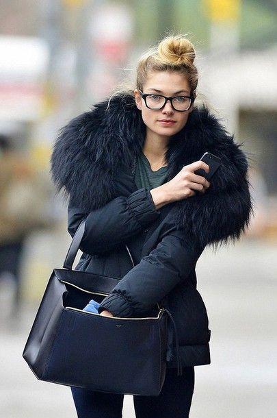 Jacket: puffer black fur collar coat bag black bag minimalist bag handbag glasses streetstyle all