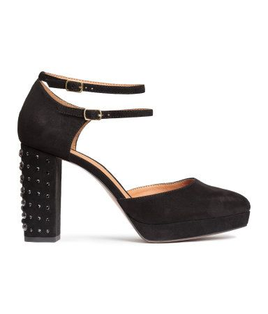 #NewYears style | Sandals in imitation suede with studded heels and double ankle straps with metal buckles. Platform front height 3/4 in., heel height 4 in.
