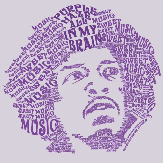 Jimy Hendrix Purple Haze. Typography. by Luis Hernandez, via Behance