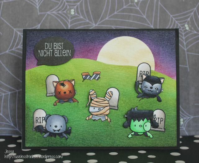 Happy Insta Girls Halloween Blog Hop Wiebke from Bunte Bastelecke Halloween Card Friedhof der Kuscheltiere