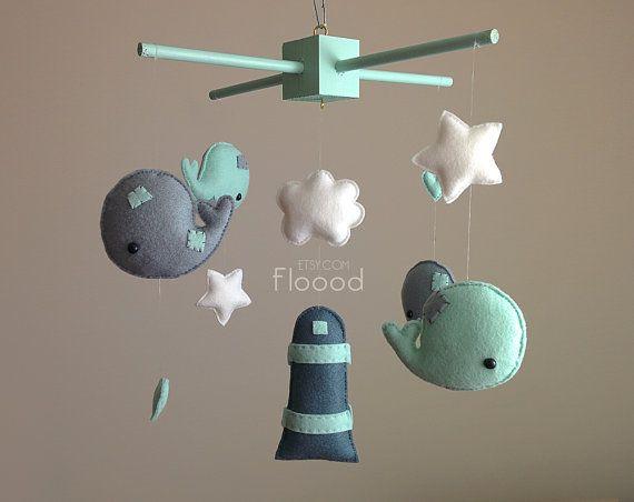 Wal-Mobile - Mint grün Kinderzimmer Decor - Baby Dusche Geschenk - Modern Babybett / Kinderbett Mobile - Whale Baby-Dusche - Filz Baby Mobile-Kindergarten Mobile