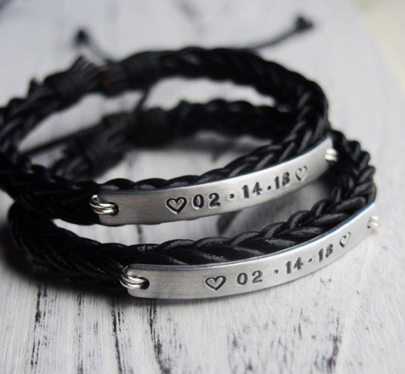 Custom Couples Gifts, 1 year anniversary gifts, Couple bracelets, Personalized bracelet, Braid leath