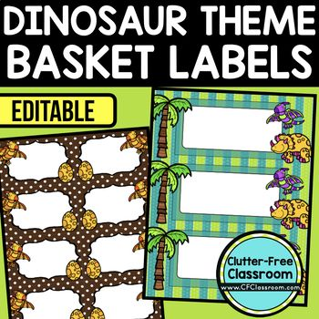 DINOSAUR THEME Editable Labels by CLUTTER FREE CLASSROOM - These organizational labels have many uses in the classroom or home school. They can be classroom library labels, name tags for cubbies or desks, supply labels, used for organizing centers, and much more. Grab these cute printables today for your preschool, Kindergarten, 1st, 2nd, 3rd, 4th, 5th, or 6th grade classroom or home school. And make sure to check out the links for some FREE downloads to help make your space look great!