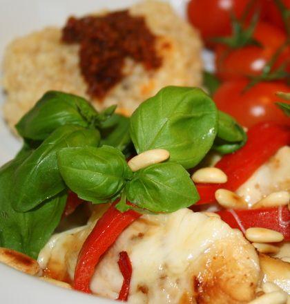Mozzarellagratinerad kyckling med grillad paprika | Jennys Matblogg