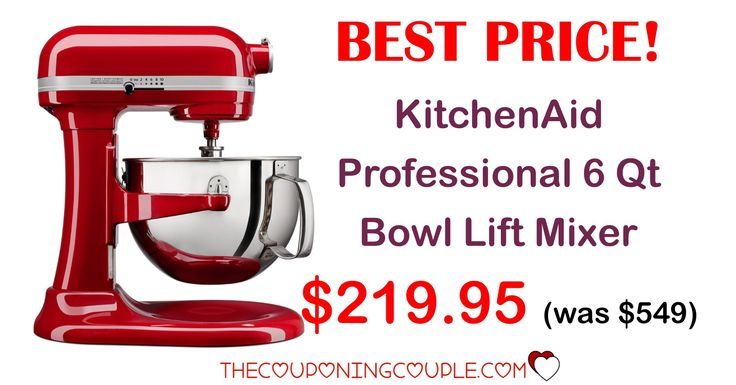 WOW! BEST PRICE EVER! Grab the KitchenAid Professional 6 qt Mixer for only $219.95 (was $549!) This is the mixer I have and it is the best investment I have ever made! What a great gift!  Click the link below to get all of the details ► http://www.thecouponingcouple.com/kitchenaid-professional-6-qt-bowl-lift-mixer/ #Coupons #Couponing #CouponCommunity  Visit us at http://www.thecouponingcouple.com for more great posts!