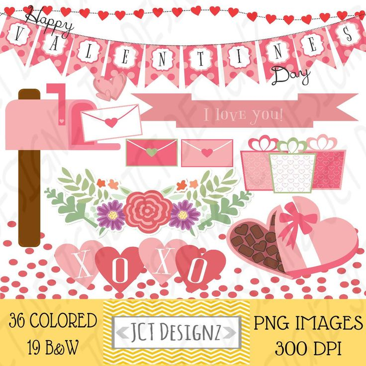 GREAT DEAL! Valentines Day Clipart, Valentines Clip Art, February Clipart, digital scrapbooking, valentines elements, february by JCTDesignz on Etsy