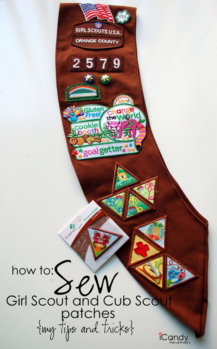 how to sew girl scout and cub scout patches ... OMGosh ... amazing tut ... much needed ... please look online or in your girl scout handbook for exact placement of badges ... the *cookie badge* does not go in the front ... icandy-homemade