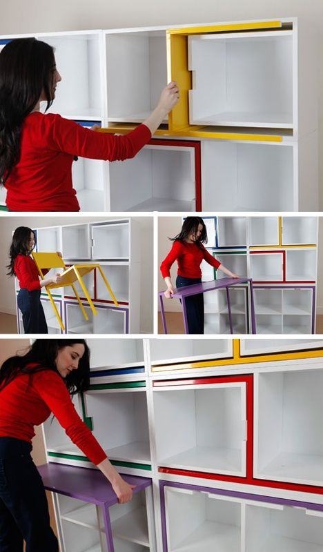 Chairs from Nowhere by Orla Reynolds. Secret table and chairs hide in shelves. Coolest idea ever!