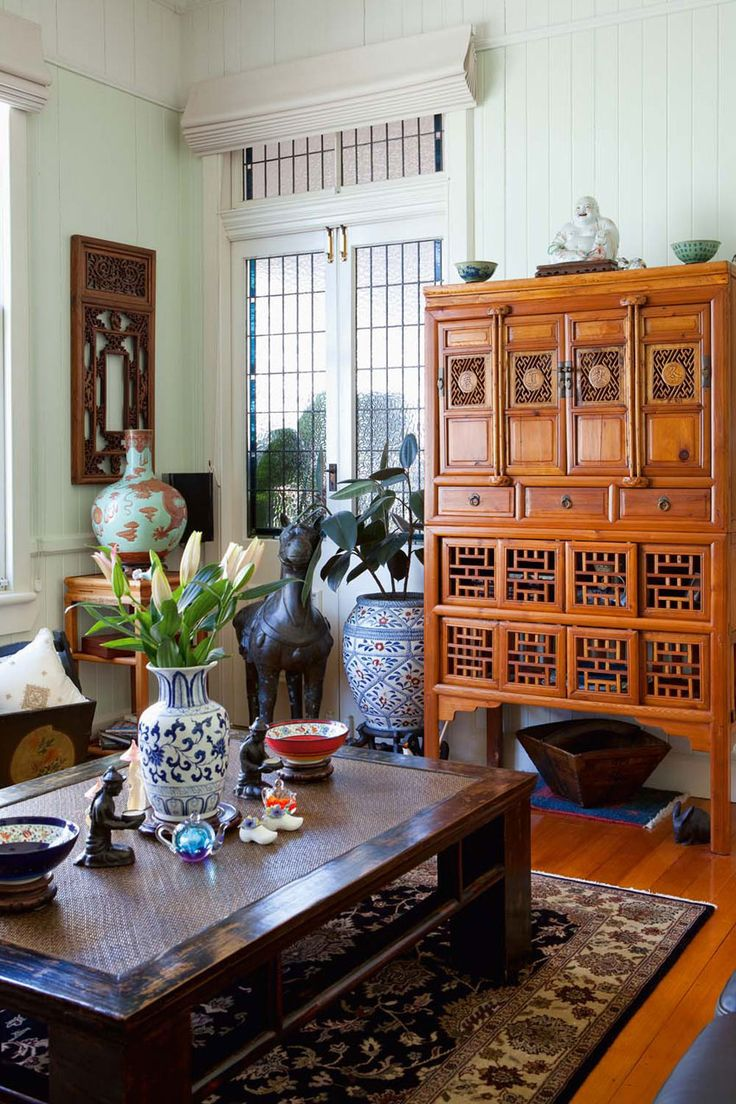Authentic Asian Furniture And Objet D Art Lend Eastern Style Elegance To This Noble