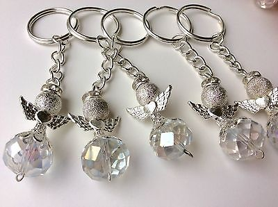 20-Silver-Color-Angel-With-Wings-Keychain-Baptism-Communion-Wedding-Party-Favors