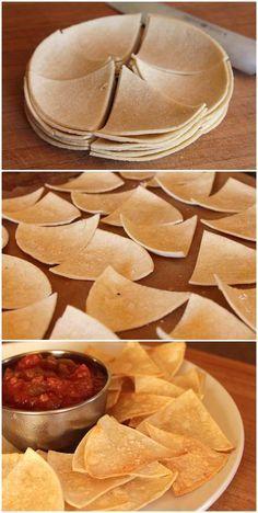 Homemade tortilla chips.