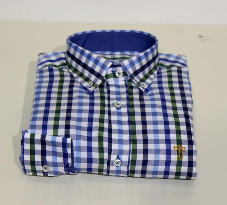 Tienda online | Moda mujer y hombre |  Camisa de manga larga slim fit de cuadros en tonos azules, blancos y verdes de Talenti Jeans Tienda online | Moda mujer y hombre |
