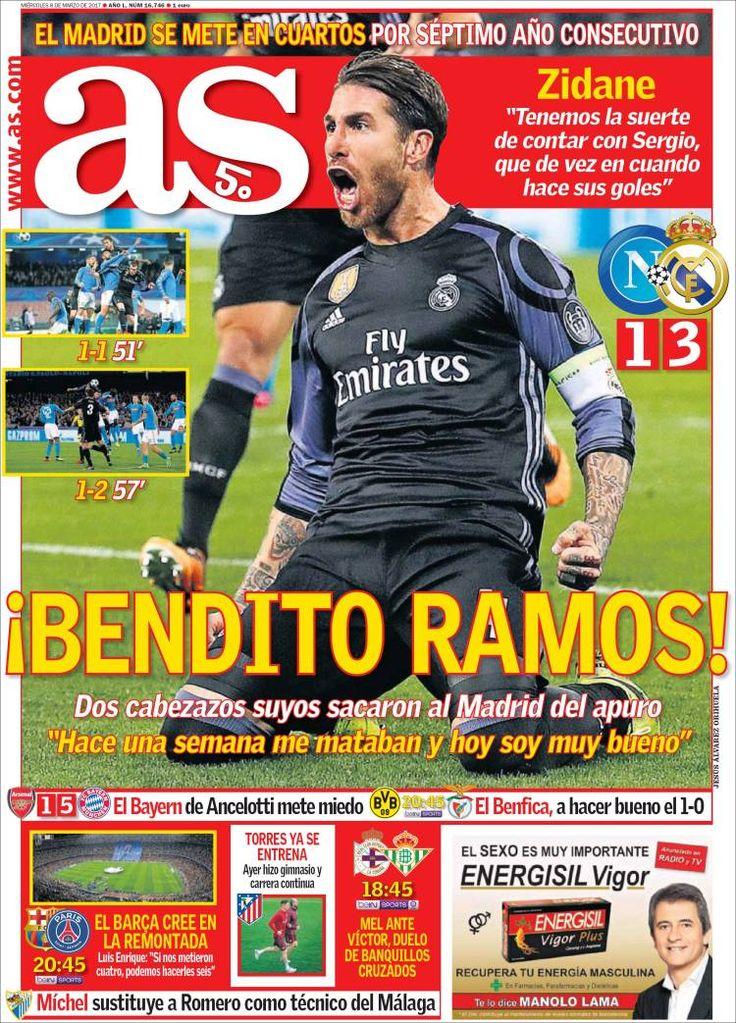 Portada del diario deportivo As del 08 de marzo de 2017