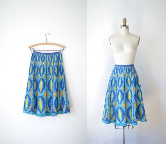 1950s Skirt / 50s Hand Painted Skirt on Etsy, $49.69 AUD