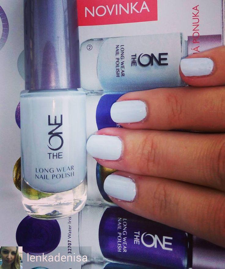 The One by @oriflame  Krásny lak na nechty od Oriflame biela farba s malou kvapkou modrej  Moja láska na leto #bluewonders #oriflame #oriflameslovakia #oriflamesweden #nailpolish #mynails #theone #theoneoriflame #seasalt #loveit #laknanechty #laskanaleto #mojenechty #kozmetickaporadkyna #leto #summer2016 @Regrann from @lenkadenisa