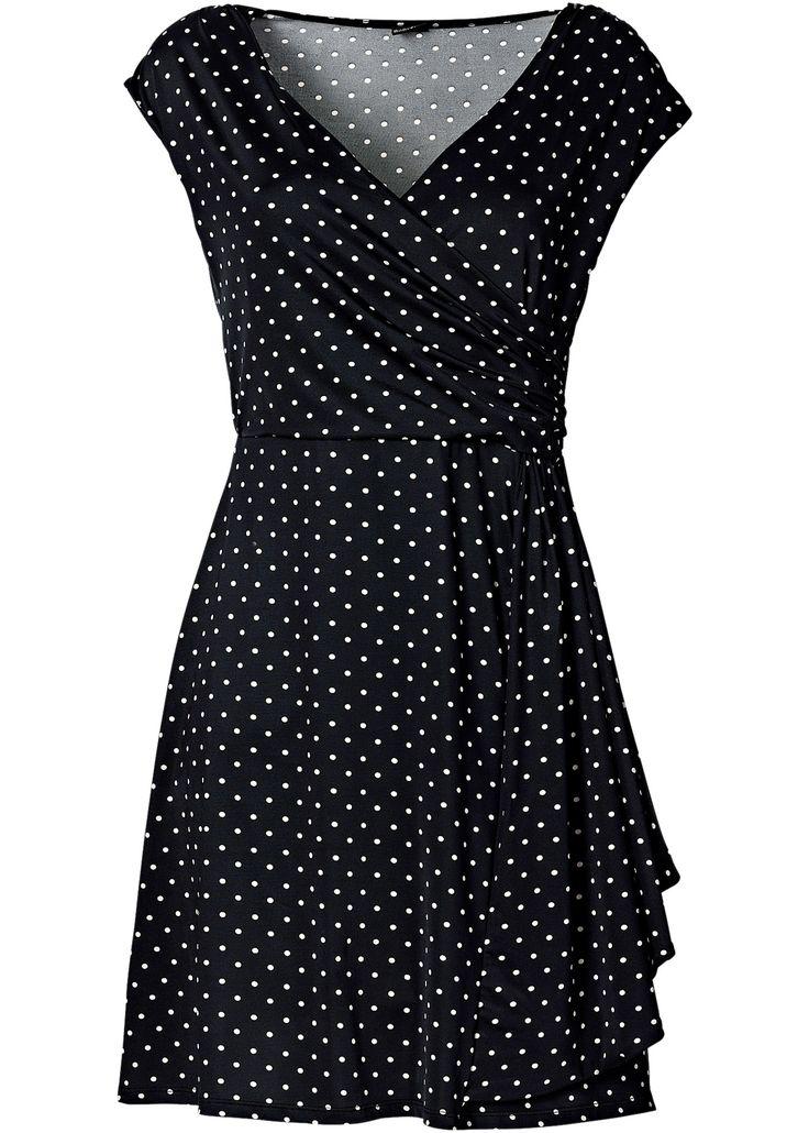 Vestido de bolinhas preto/cru encomendar agora na loja on-line bonprix.de  R$ 99,90 a partir de Definitivamente feminino! Vestido de bolinhas com decote V e ...