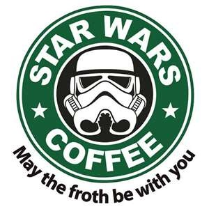 Star Wars Coffee. may the froth be with you. stormtrooper
