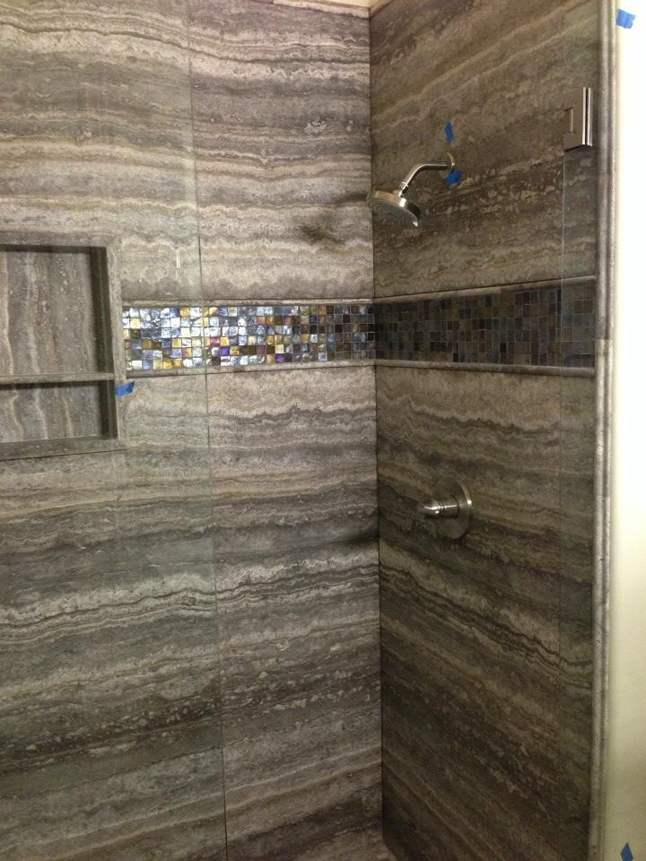 Portfolio forever baths no grout shower walls made of stone slabs bathroom pinterest for Bathroom floors without grout