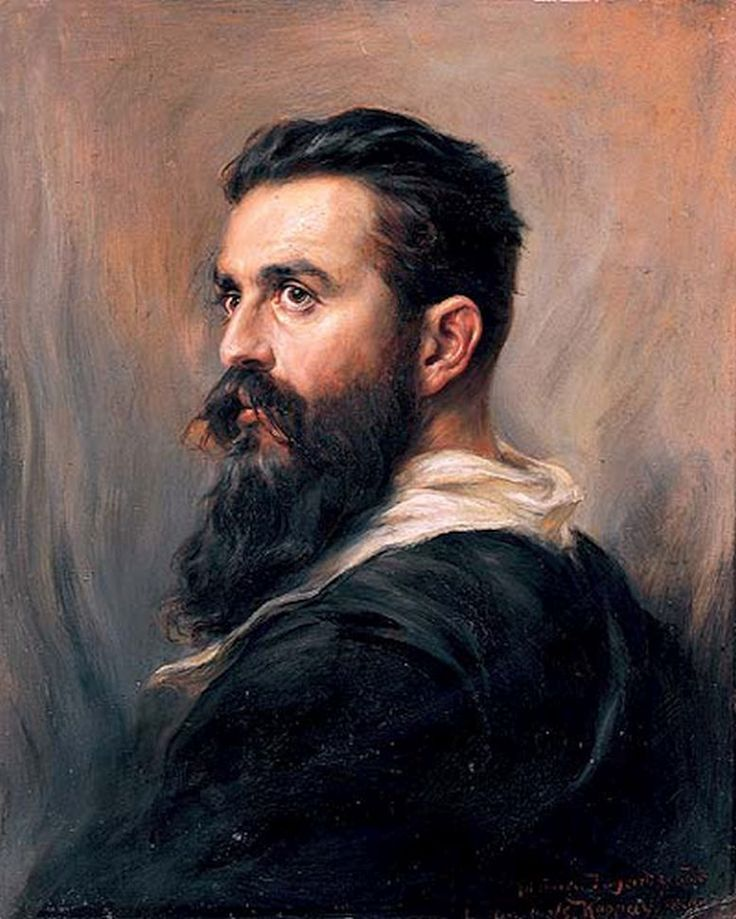 One of the paintings of Theodor Herzl in the Knesset: An oil painting by Baron Joseph Arpad Koppay von Dretoma, 1899.