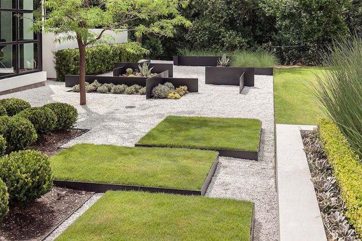 bordure jardin planter metal deco jardin moderne gravier blanc