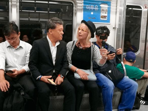 Kevin Lee of INR and Marja Nousiainen meet in a subway in Seoul, South-Korea