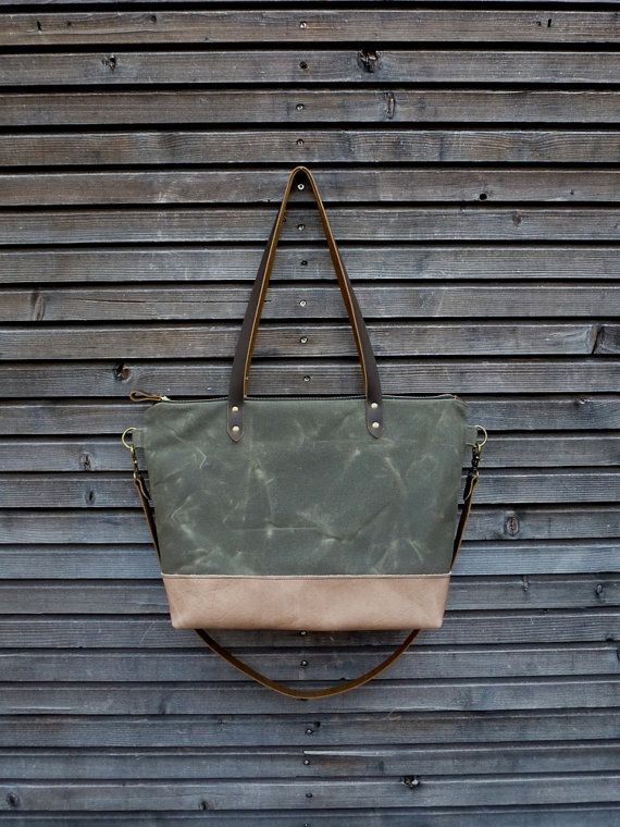 Waxed canvas bag tote bag with  leather handles by treesizeverse