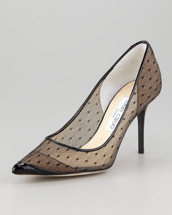 Dress Your Best for Evening. Sheer dotted tulle Jimmy Choo pumps with a black patent leather tip and pointed toe.